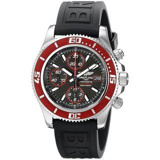 Breitling Men's A13341X9-BA81RU 'Super Avenger' Automatic Chronograph Black Rubber Watch