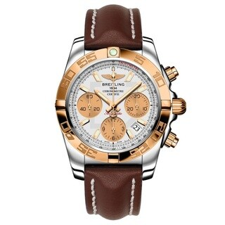 Breitling Men's CB014012-G713LS 'Chronomat' Automatic Chronograph Brown Leather Watch
