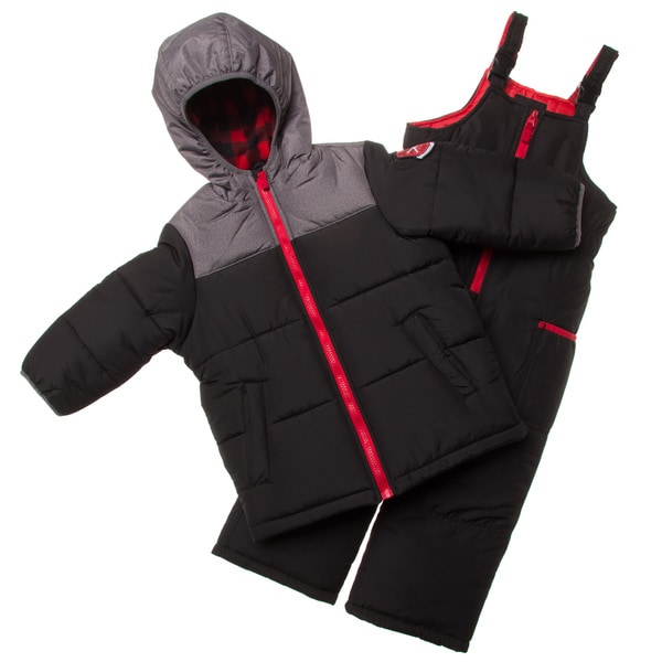 London Fog Black and Red Little Boy Snowsuit