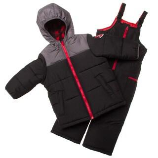 London Fog Black and Red Little Boy Snowsuit