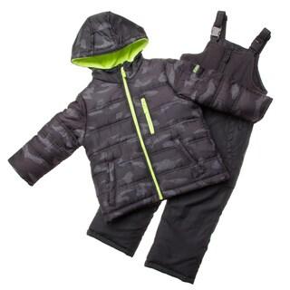 London Fog Black Camo/ Green Little Boy Snowsuit