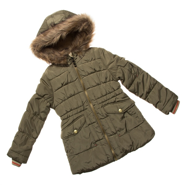 London Fog Big Girl Faux Fur Hood Coat
