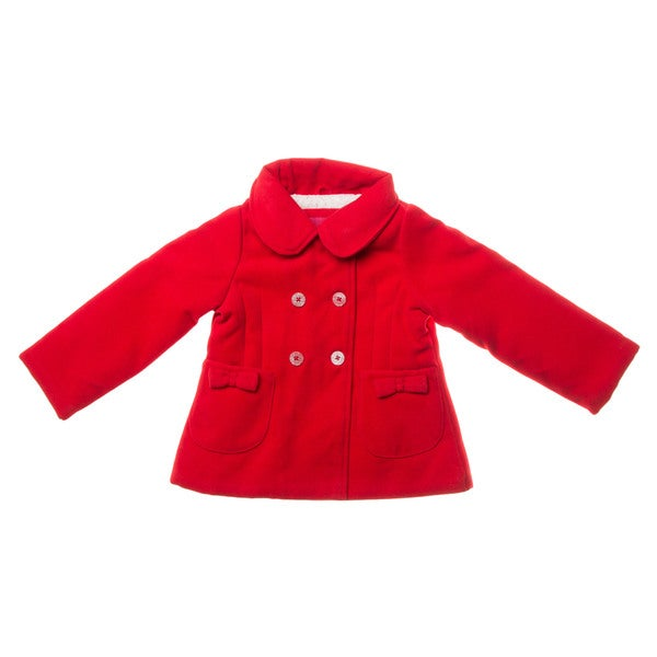 London Fog Toddler Girls' Red Pea Coat