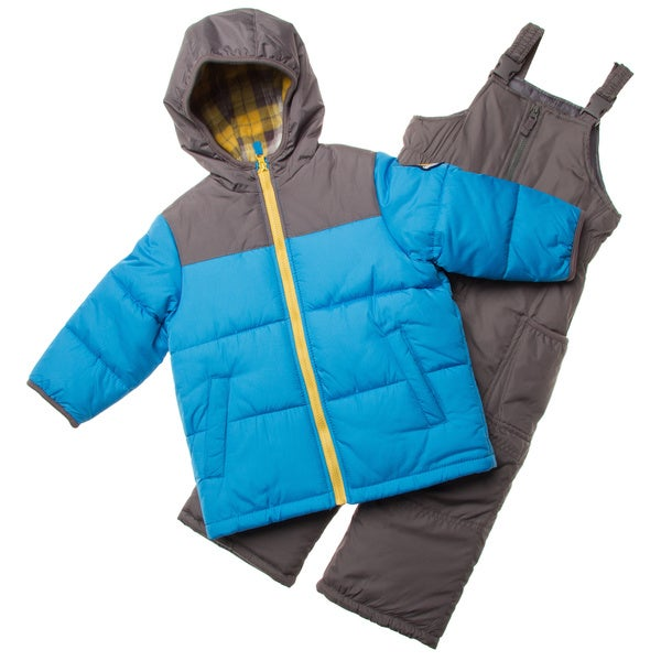 London Fog Toddler Boys' Blue/ Grey Polyester Snowsuit