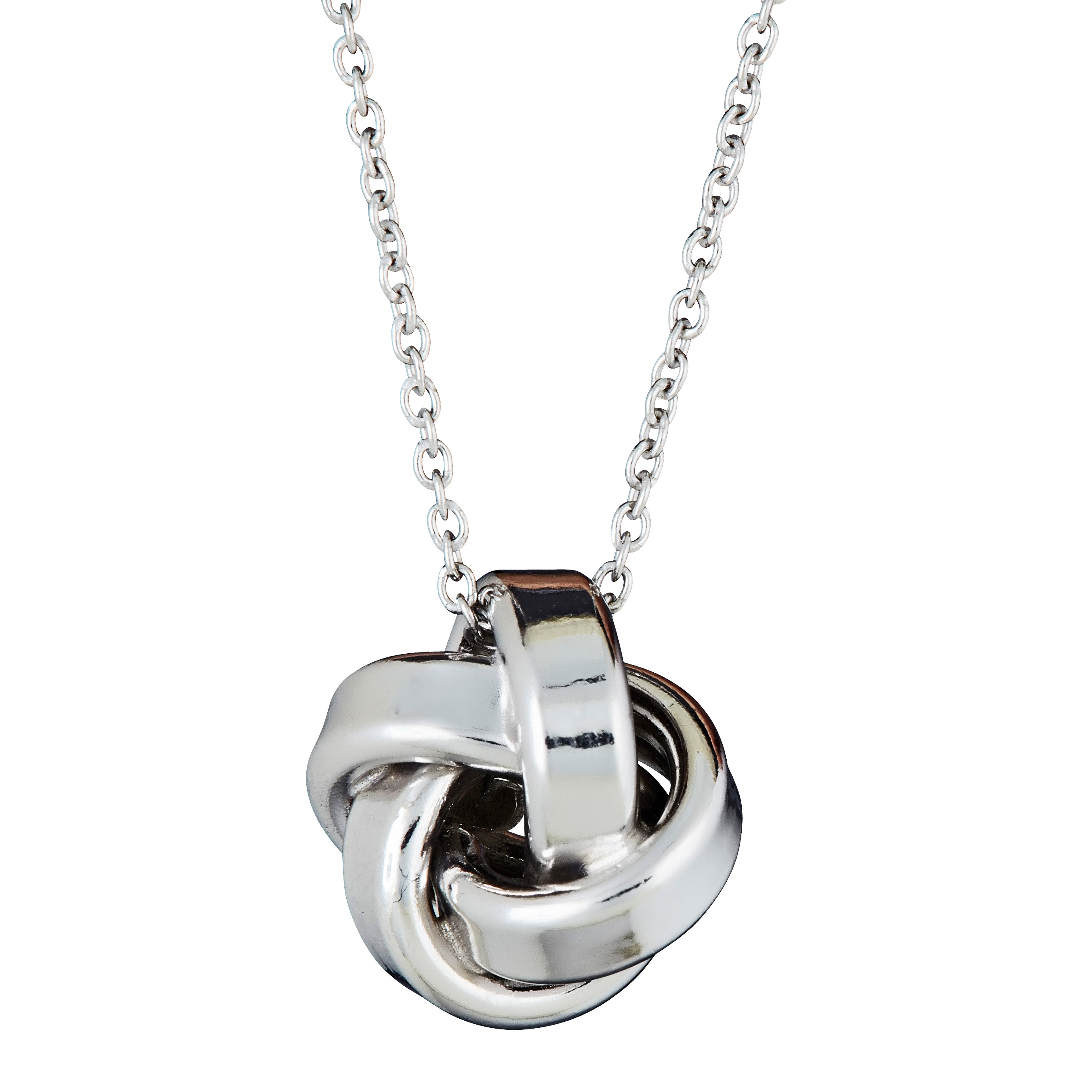 Overstock.com Sterling Silver Italian Love Knot Necklace