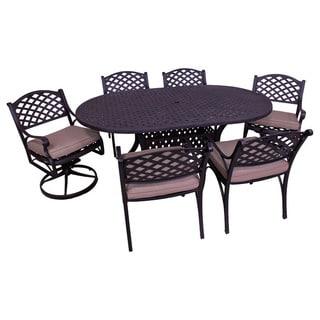 Lattice Work 7-Piece Oval Table Dining Set