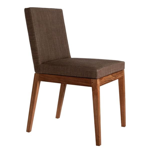 Aurelle Home Aurelle Teak Wood Upholstered Dining Chair
