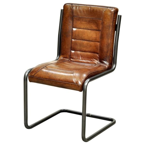 Aurelle Home Ruth Top Grain Leather Side Chair