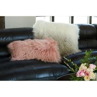 Aurelle Home Faux Lamb Fur Pillow Tan Spectrum 22-inch Throw Pillow