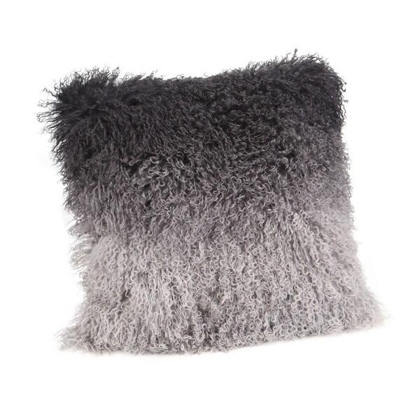 Aurelle Home Lamb Faux Fur Pillow Grey Spectrum 22 Inch