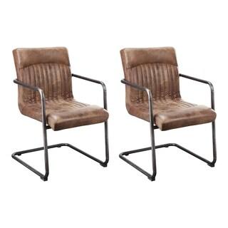 Aurelle Home Cooper Light Brown Arm Chair (Set of 2)