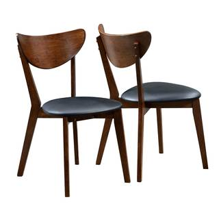 Peony Retro Dark Walnut and Black Seat Dining Chairs (Set of 2)