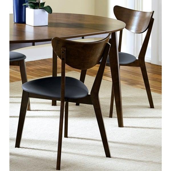 Peony Retro Dark Walnut Black Seat Dining Chairs Set 600