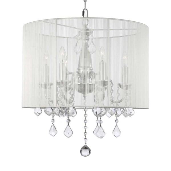 Swag Plug In Chandelier With Crystals And Large White