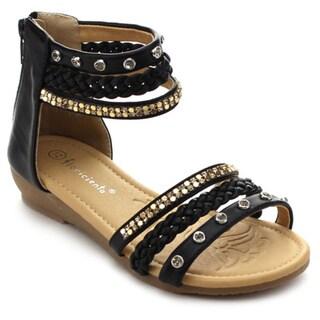 Floricienta LILY-01K Girls' Rhinestone Ankle Straps Back Zipper Wedge Sandals
