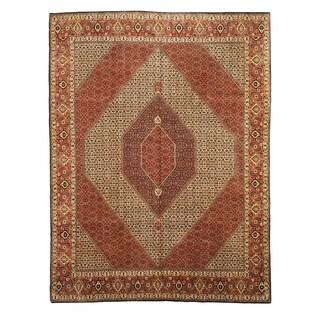 EORC X19687 Ivory Hand-knotted Wool Bidjar Area Rug (9'10 x 13'1)