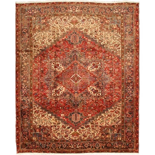 EORC X20742 Red Hand-knotted Wool Heriz Area Rug (10'4 x 12'6)