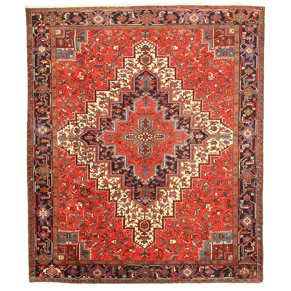 EORC X26063 Red Hand-knotted Wool Heriz Area Rug (9'8 x 11'5)