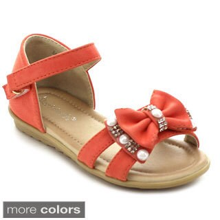Floricienta MIA-01I Girls' Rhinestone Pearls Bow Strap Flat Sandals