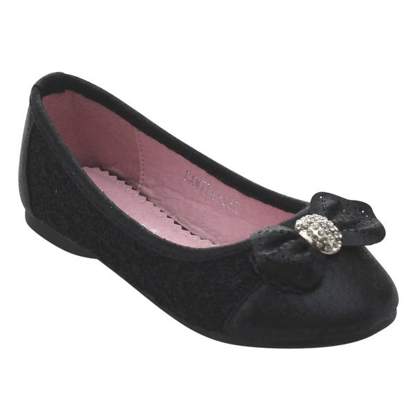 Floricienta CAMILA-04K Girls' Lace Rhinestone Bow Ballet Flats