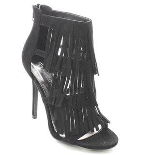 Wild Diva ADELE-177 Women's Zip Closure Fringe Dress Heels