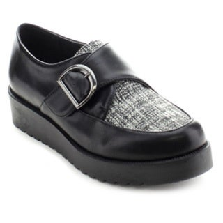 Wild Diva ELSA-03 Women's Retro Plaform Monk Strap Brothel Creeper Flat Oxfords