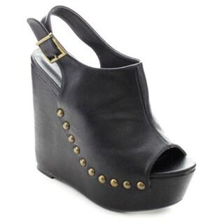 Wild Diva CHIC-102 Women's Peep Toe Slingback Platform Wedges