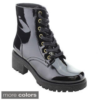Wild Diva VELDA-01 Women's Military Lace Up Combat Boots