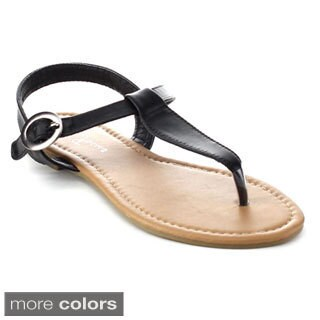 Fashion Focus ORLENA-34 Women's Adjustable Buckle Ankle Strap Flat Thong Sandals