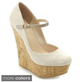 Wild Diva KENDALL-80D Women's Floral Ankle Strap Platform Wedges