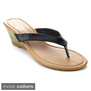 Fashion Focus KAVA-22 Women's Casual Slip On Toe Stacked Mid Wedge