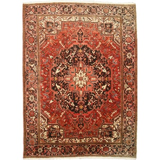 Eorc Hand Knotted Wool Ivory Serapi Rug 9 X 12