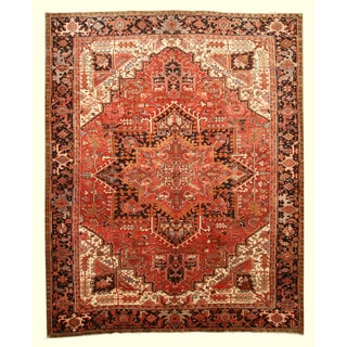 EORC X33210 Rust Hand-knotted Wool Heriz Area Rug (10'3 x 12'8)