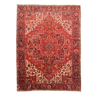 EORC X34457 Red Hand-knotted Wool Heriz Area Rug (9'3 x 12'6)