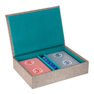 Travel Game Set with 2 Decks of Card and Dice In Grey Lizard Leather
