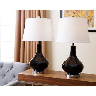 ABBYSON LIVING Luciana Black Glass Table Lamp (Set of 2)