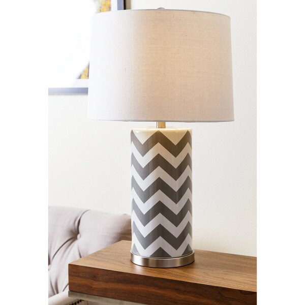 ABBYSON LIVING Madison Grey Chevron Table Lamp