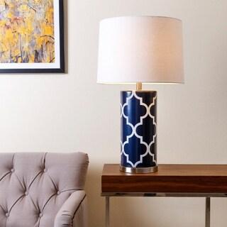 Abbyson Madison Navy Blue Lattice 27-inch Table Lamp
