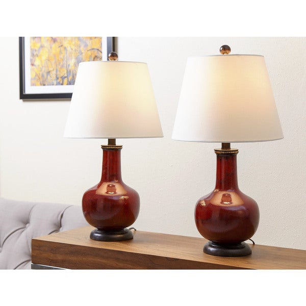ABBYSON LIVING Lauren Ox Blood Red Ceramic Table Lamp (Set of 2)