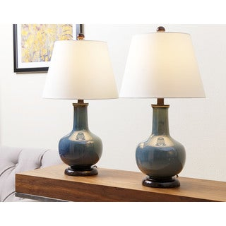 ABBYSON LIVING Lauren Blue Ceramic Table Lamp (Set of 2)