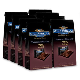 Ghirardelli Chocolate Intense Dark 72% Cacao Twilight Delight SQUARES Stand Up Bag Case Pack of 8