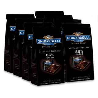 Ghirardelli Chocolate Intense Dark 86% Cacao Midnight Reverie SQUARES Stand Up Bag Case Pack of 8
