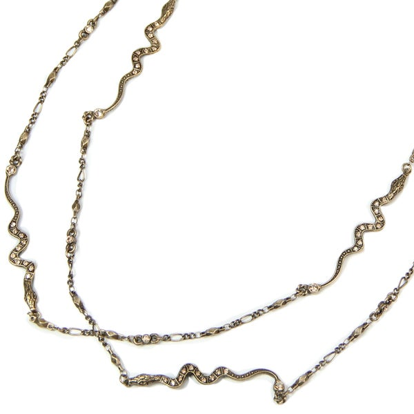 Sweet Romance Pewter Baby Snakes Chain Necklace