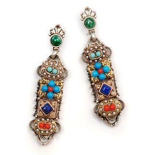 Sweet Romance Southwest Lapis Turquoise Coral Pearl Silver Gold Earrings