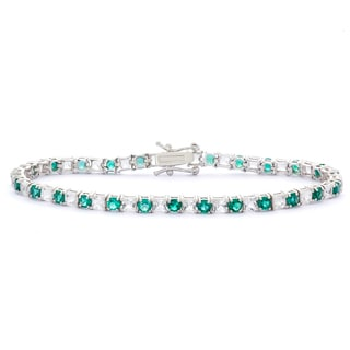 Gioelli Sterling Silver Round Created White Sapphire and Created Emerald Bracelet
