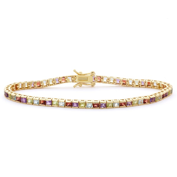 Gioelli 14k Goldplated Multi-colored 2.5mm Princess-cut Created Gemstone Bracelet