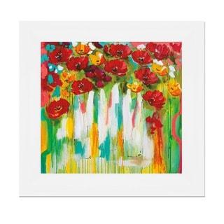 Amanda J. Brooks 'Poppies Glowing' 31 x 31 Framed Art Print