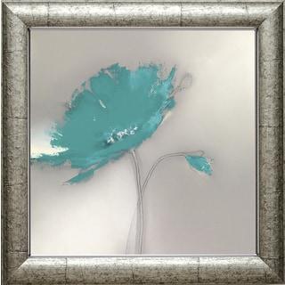 J.P. Prior 'Aqua Platinum Petals l' 22 x 22 Framed Art Print