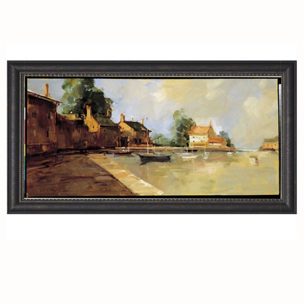 Ted Goerschner-Morning Harbor 39 x 21 Framed Art Print