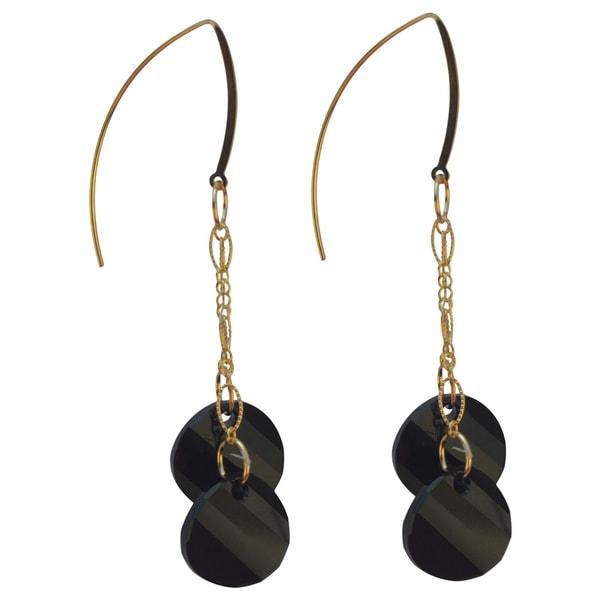 Handmade Gold-filled Crystal Black 3-inch Drop Earrings